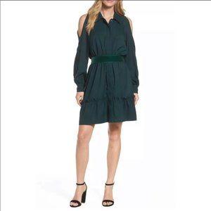 Eliza J Cold Shoulder Collared Shirt Dress Belted